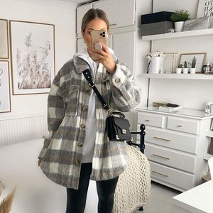 Plaid Oversized Shacket with Sherpa Teddy Lining
